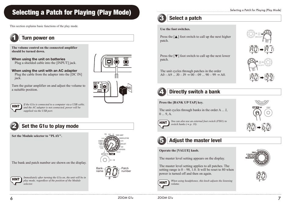 selecting a patch for playing play mode turn power on set the rh manualsdir com zoom g1u manual español manual zoom g1u portugues