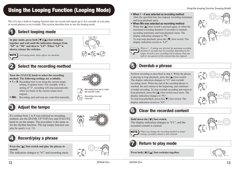 using the looping function looping mode select looping mode rh manualsdir com zoom g1u manual pdf Ariens Zoom Manual