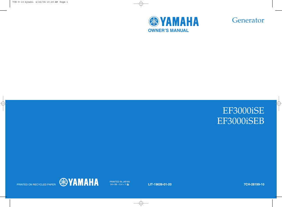 yamaha ef3000ise user manual 47 pages also for ef3000iseb