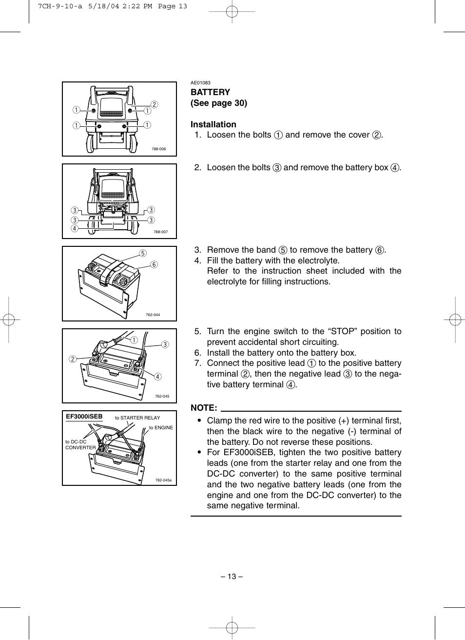 Battery   Yamaha EF3000iSE User Manual   Page 18 / 47 on