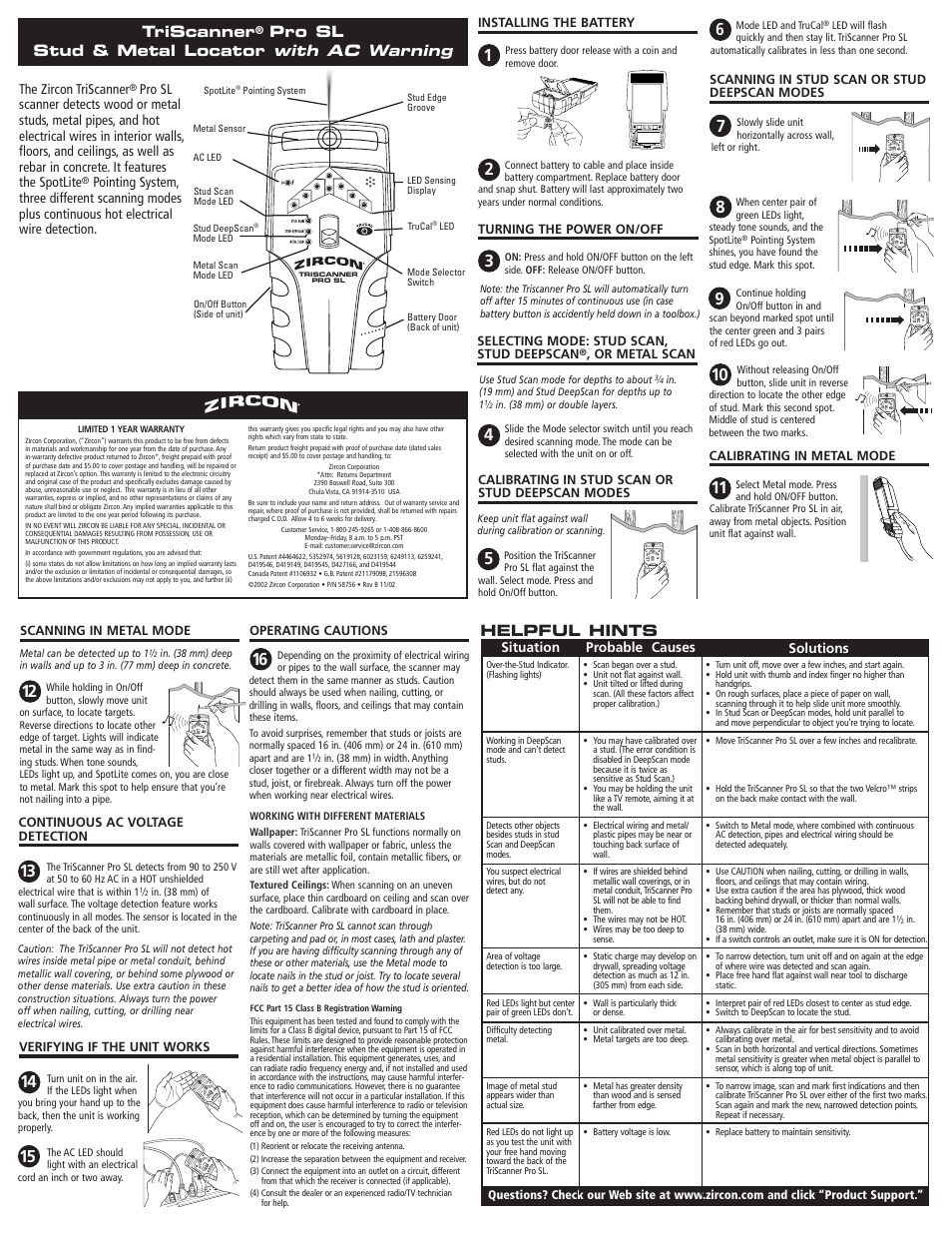 Zircon Pro Sl User Manual 2 Pages Locating Electrical Wiring Behind Walls