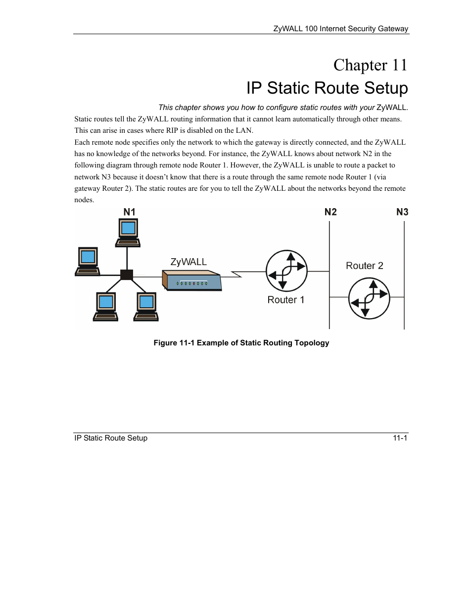 Ip static route setup, Chapter 11 ip static route setup | ZyXEL