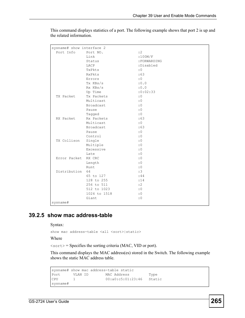 5 show mac address-table | ZyXEL Communications GS-2724 User Manual