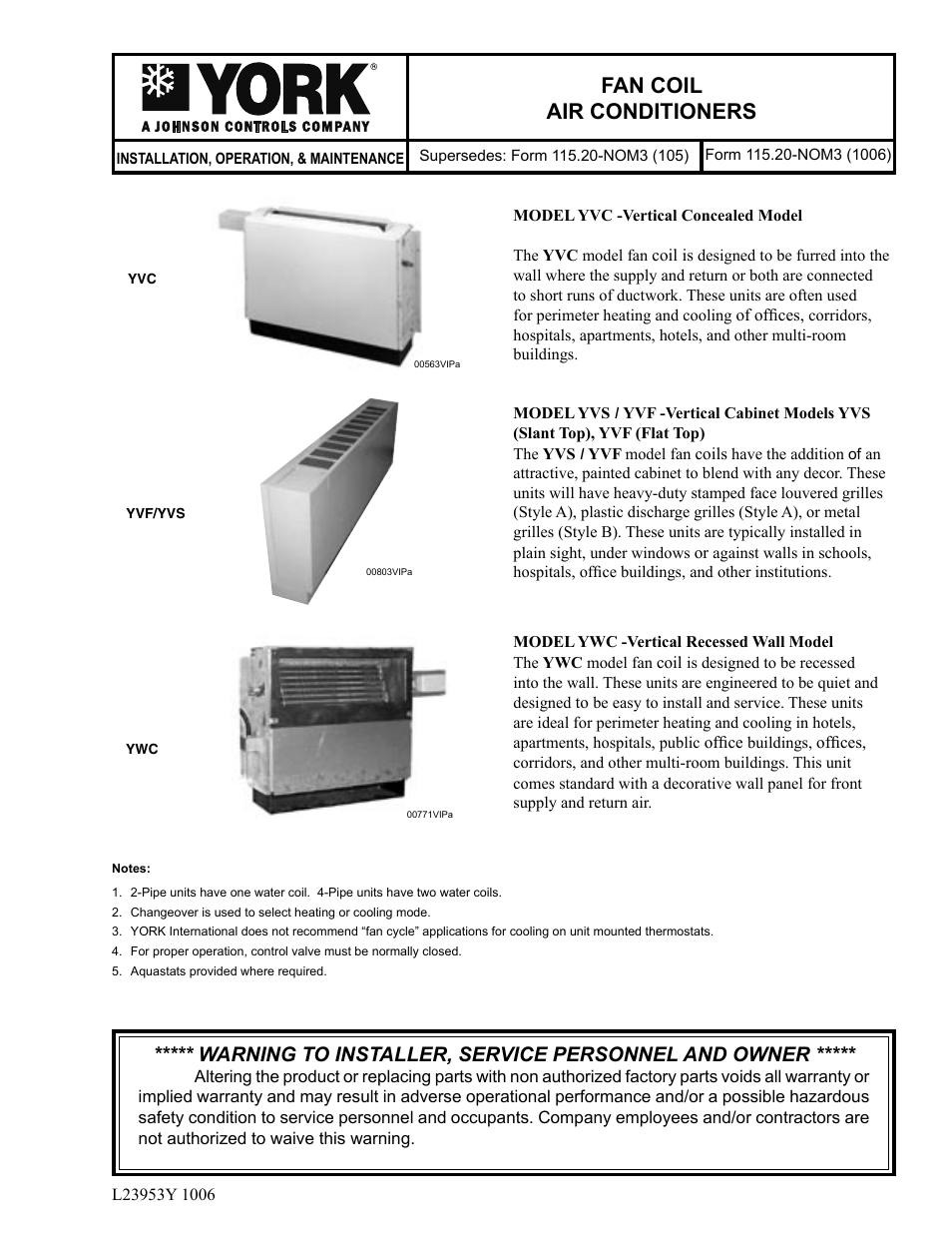 York FAN COIL YWC User Manual | 12 pages | Also for: FAN