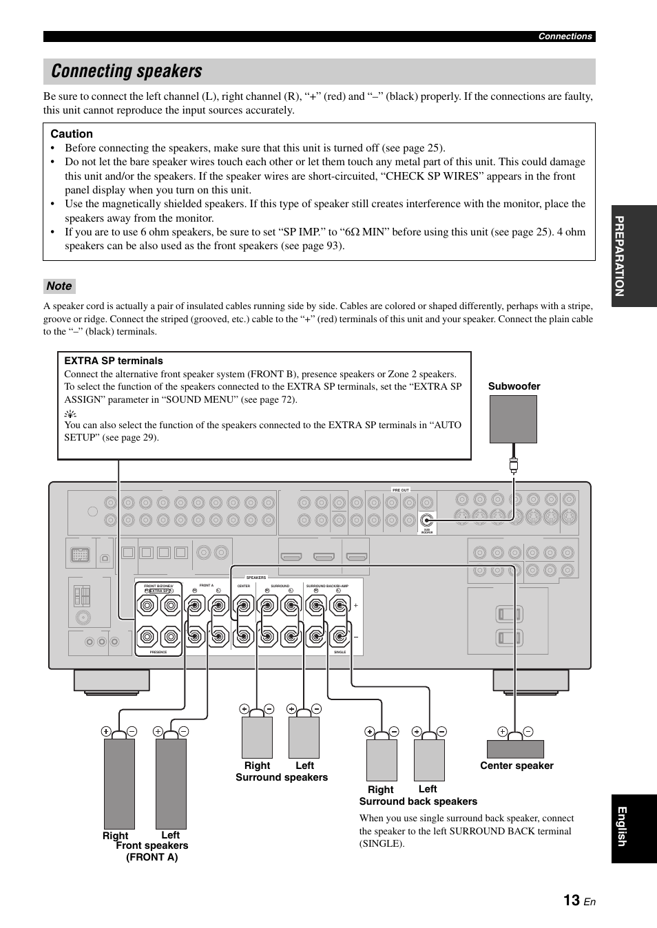 Connecting speakers, P  13 | Yamaha RX-V661 User Manual | Page 17 / 130