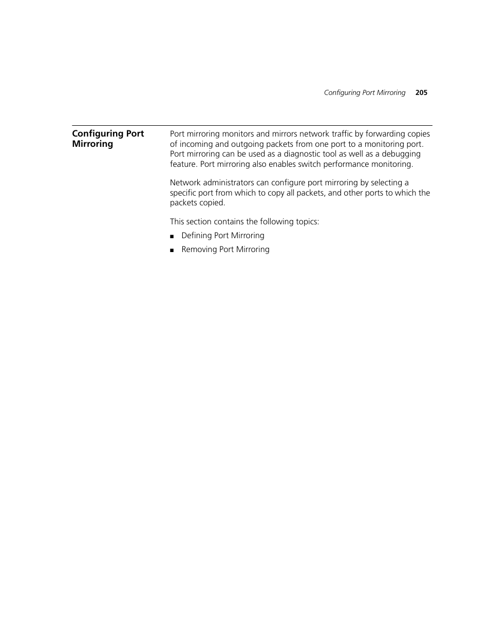 Configuring port mirroring | 3com 2924-pwr user manual | page 205.