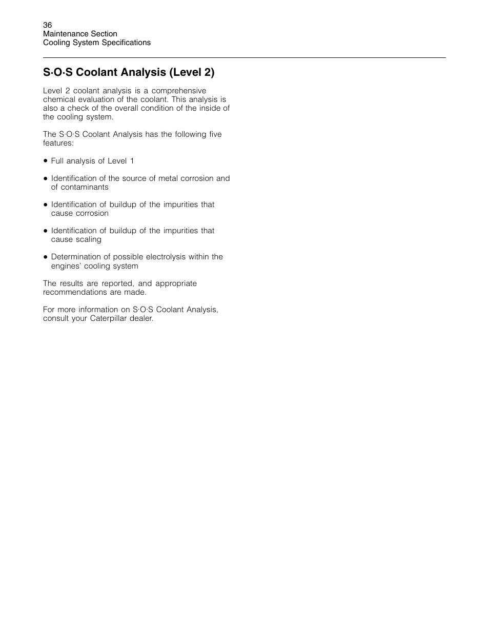 S·o·s coolant analysis (level 2) | 3Com Caterpillar