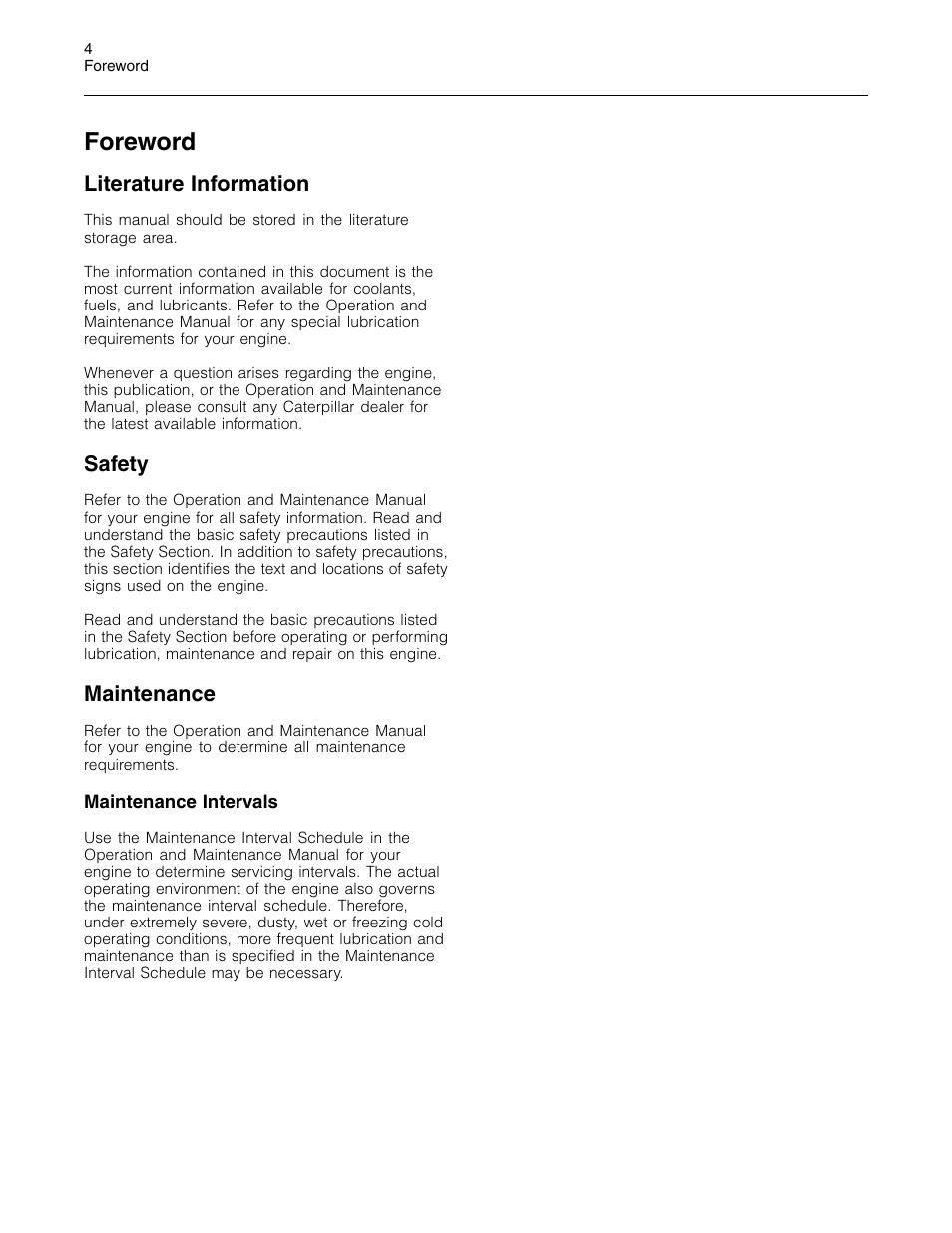 Foreword, Literature information, Safety | Maintenance | 3Com Caterpillar  Commercial Diesel Engine SEBU6251-