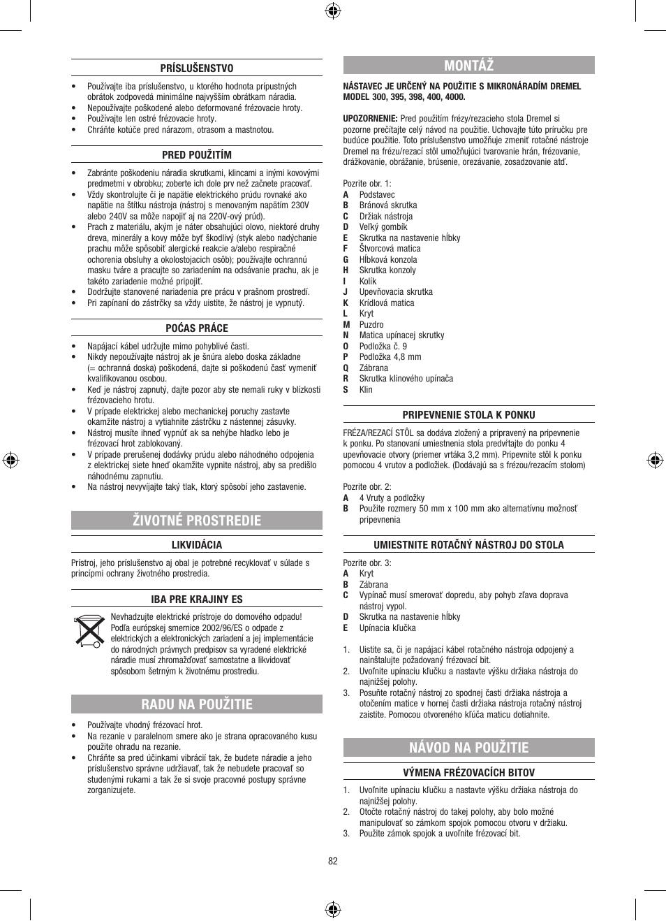 d22c03835 Životné prostredie, Radu na použitie, Montáž | Dremel Столик для  фрезерования User Manual | Page 82 / 84