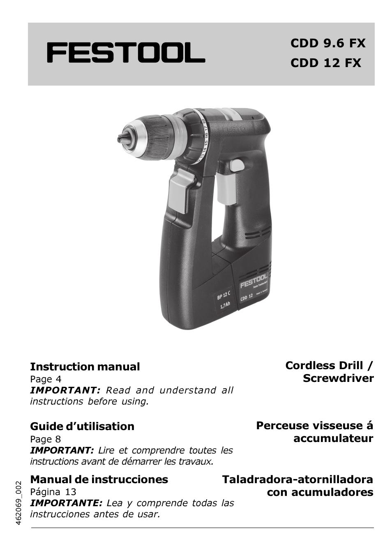 festool cdd 12 fx user manual 18 pages rh manualsdir com Sony DAV HDX576WF Manual Sony Wireless Headphones Manual