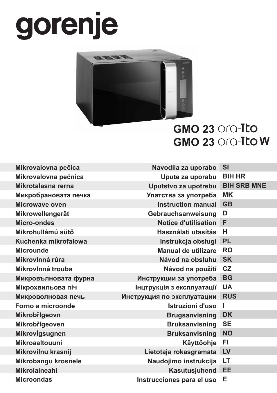 gorenje gmo 23 ora ito user manual 175 pages. Black Bedroom Furniture Sets. Home Design Ideas