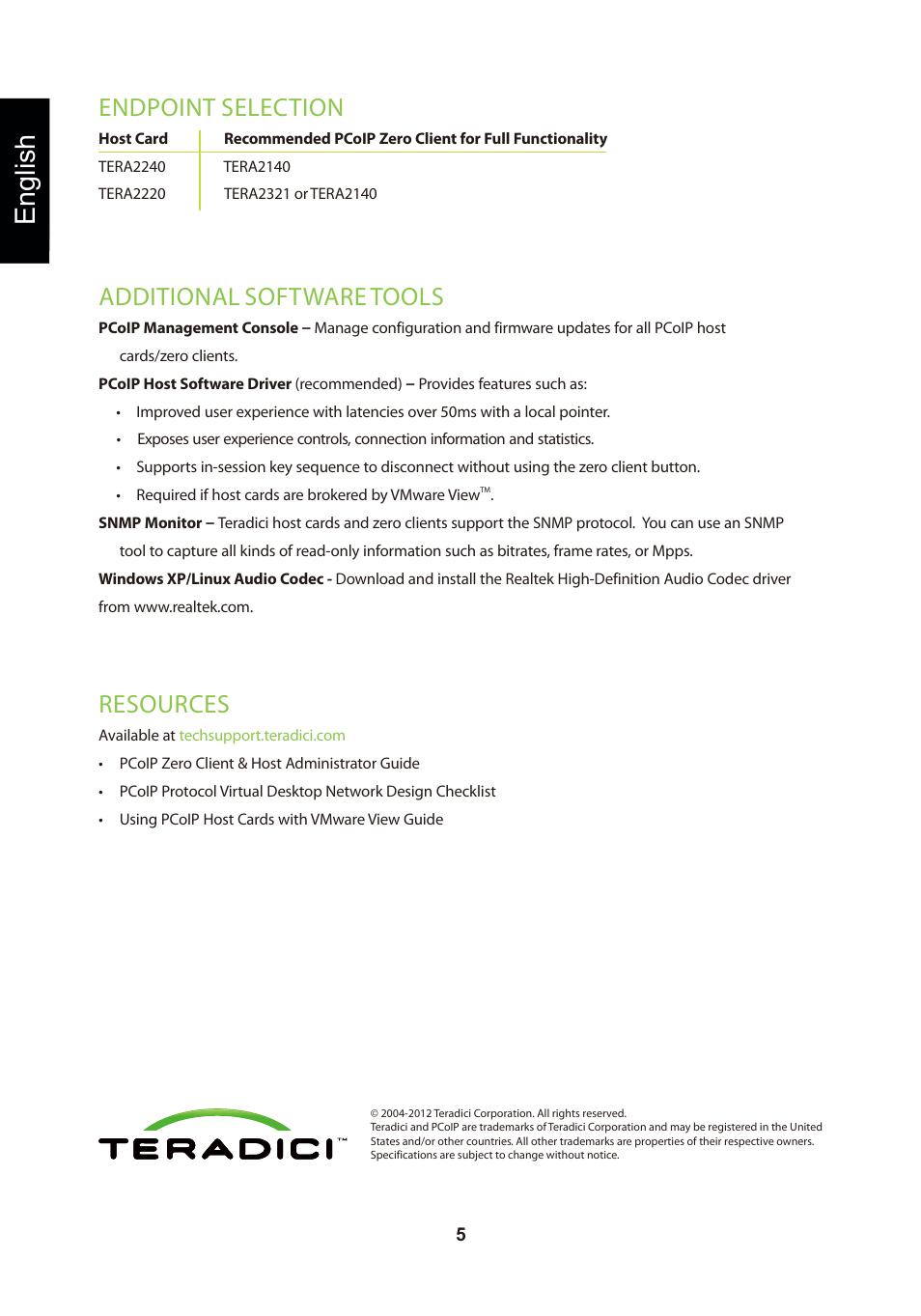 頁面 8, English, Resources | Leadtek TERA2240 Host Card User