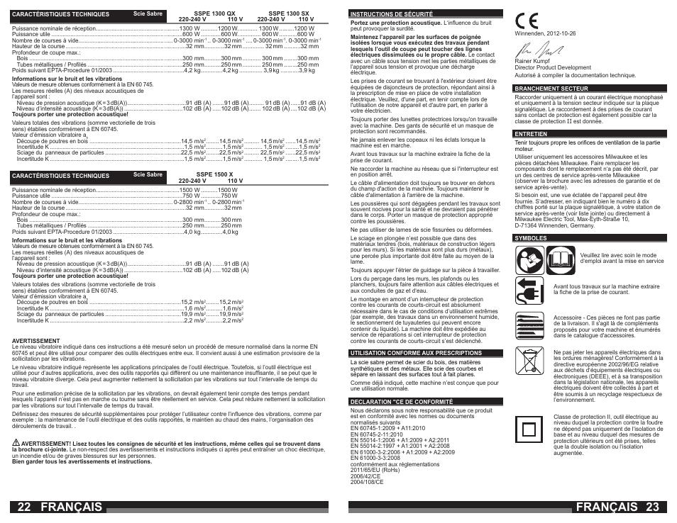 Français Milwaukee Sspe 1500 X User Manual Page 12 37