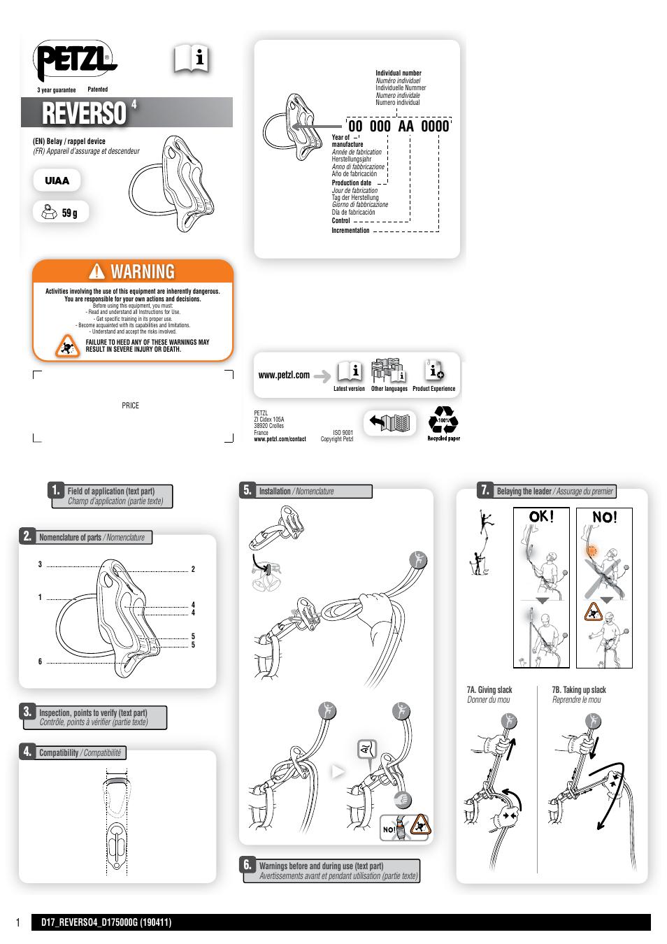petzl reverso 4 instructions