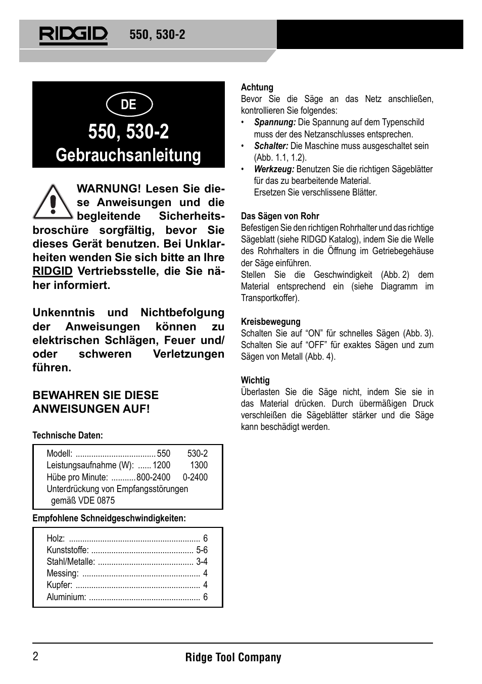 Gebrauchsanleitung | RIDGID 530-2 Reciprocating Saw User Manual ...