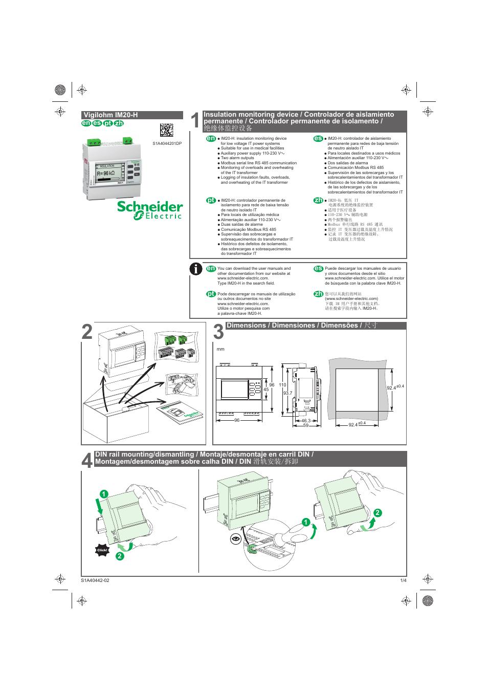 Schneider Electric Vigilohm IM20-H User Manual   10 pages