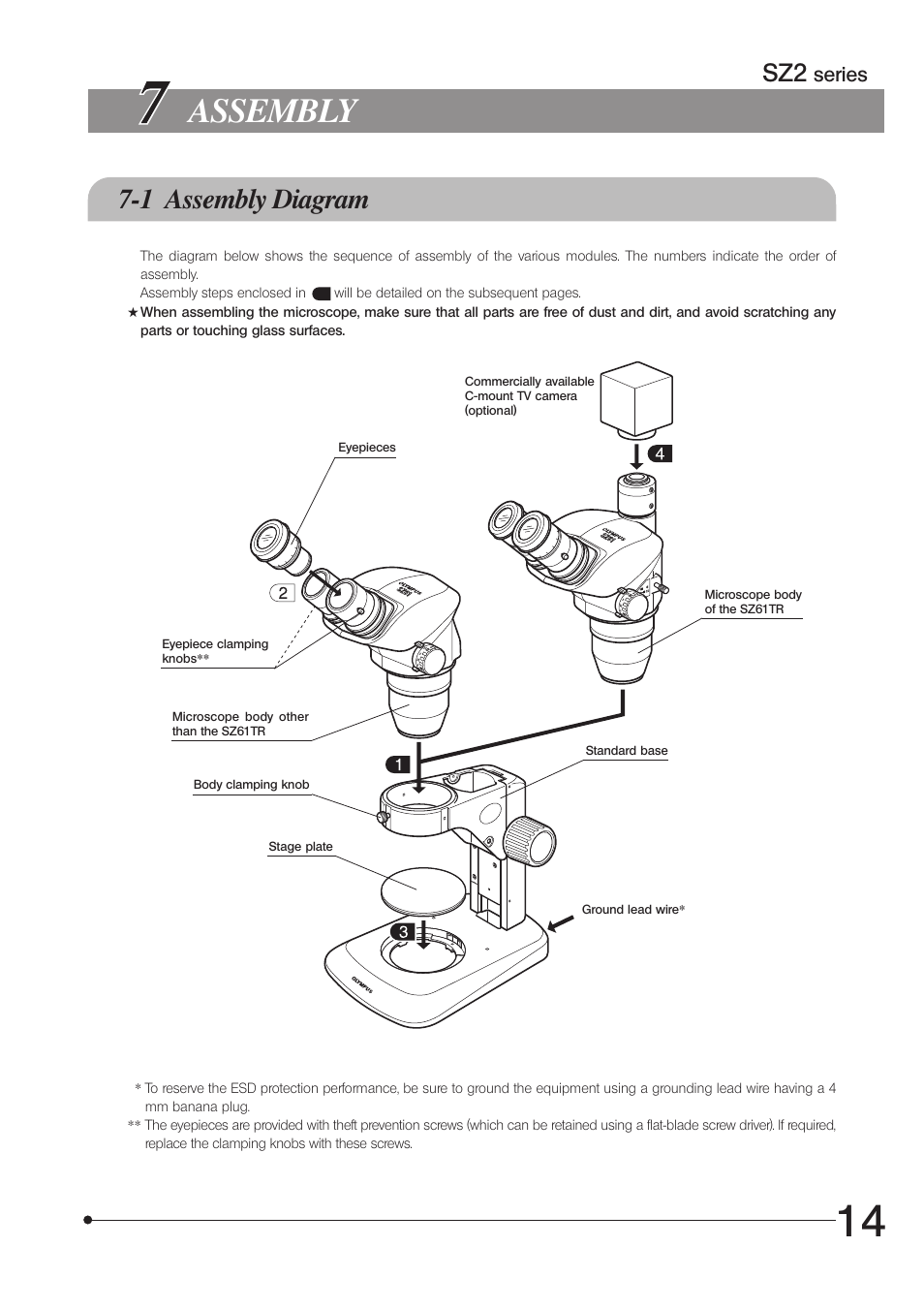 Assembly 1 Diagram Olympus Sz61 User Manual Page 17 28 Microscope Wiring