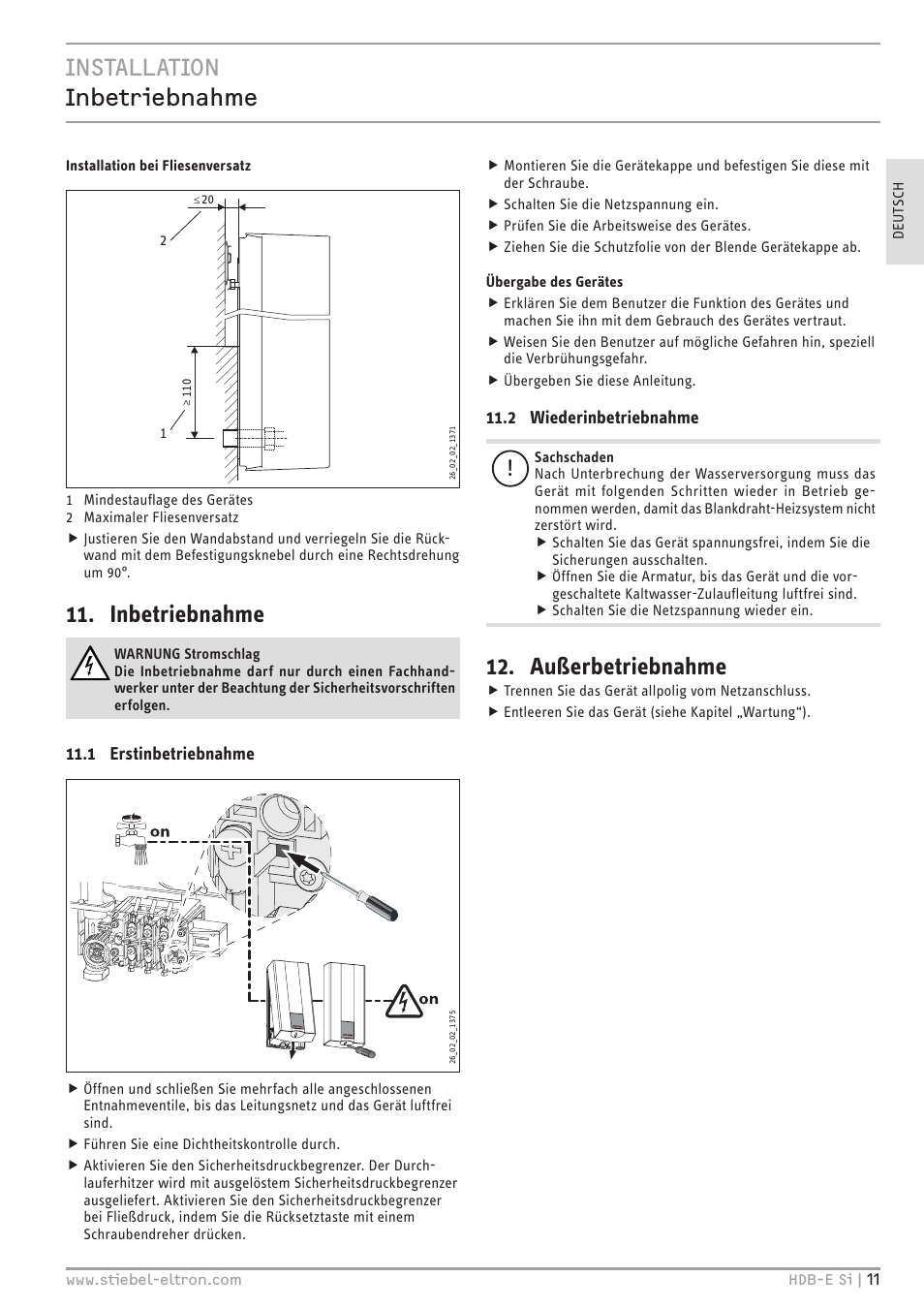Installation Inbetriebnahme Inbetriebnahme Außerbetriebnahme - Fliesenversatz