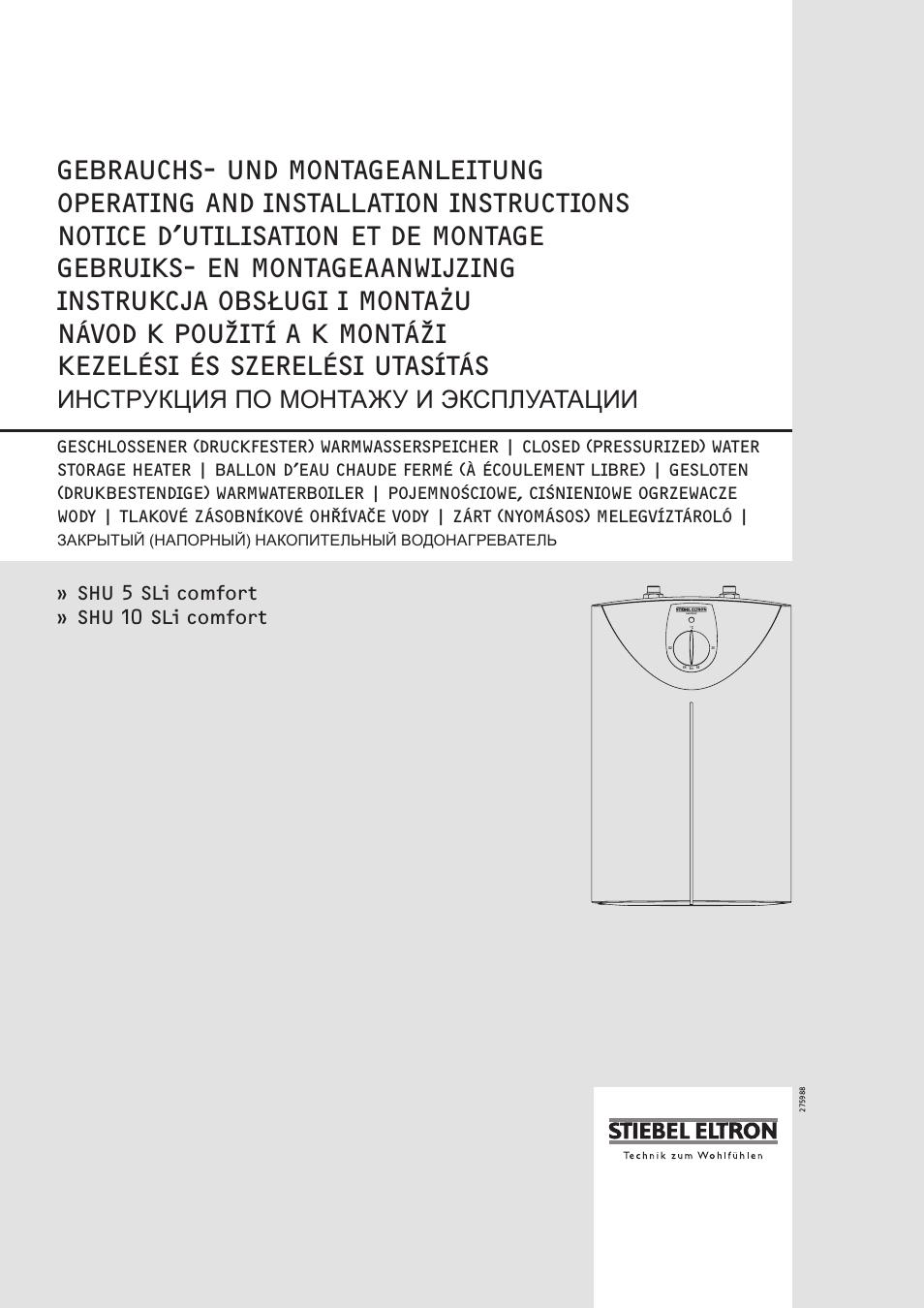 stiebel eltron snu 5 sli user manual 34 pages. Black Bedroom Furniture Sets. Home Design Ideas