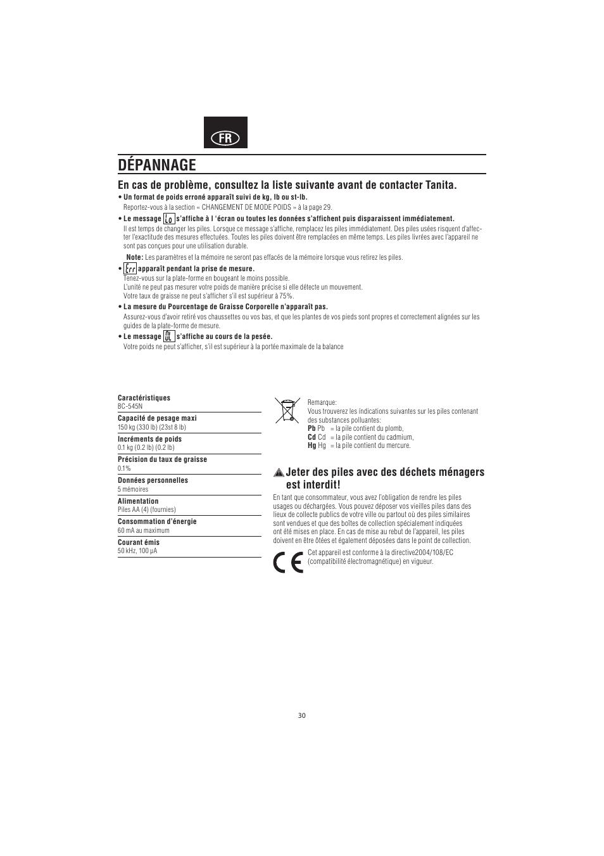 d pannage tanita bc 545n user manual page 32 84 original mode rh manualsdir com Operators Manual Corvette Owners Manual