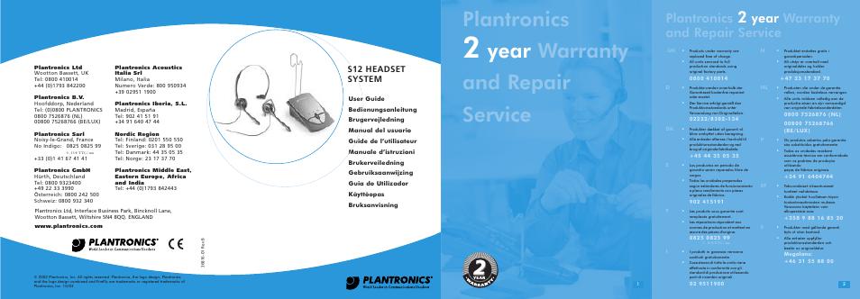 plantronics s12 user manual 47 pages rh manualsdir com Plantronics Telephone Headsets plantronics s12 headset instruction manual