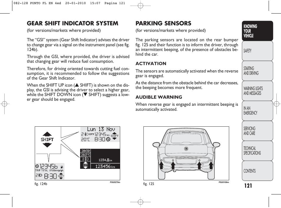 parking sensors gear shift indicator system fiat punto. Black Bedroom Furniture Sets. Home Design Ideas