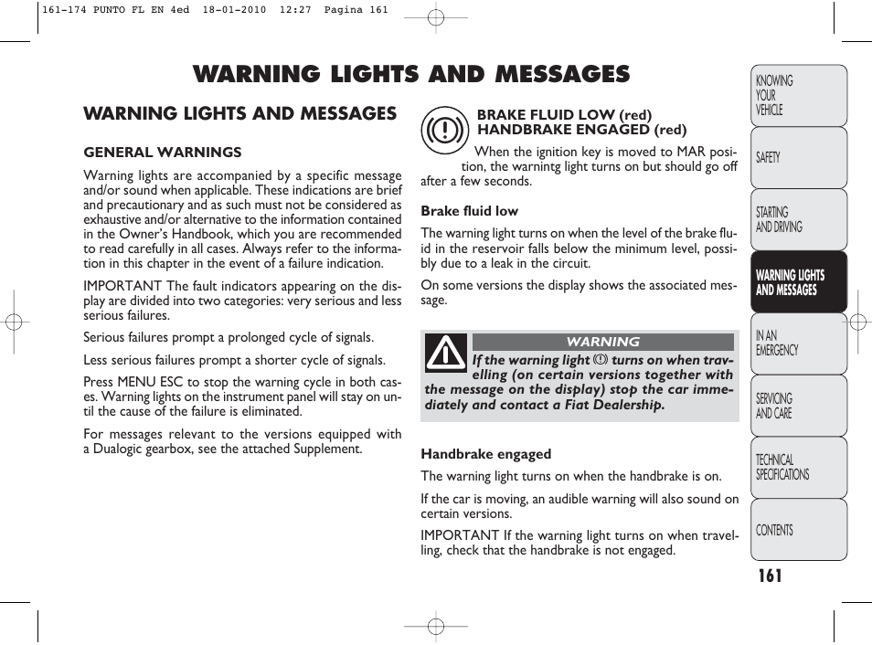 Warning Lights And Messages Fiat Punto Evo User Manual Page 162
