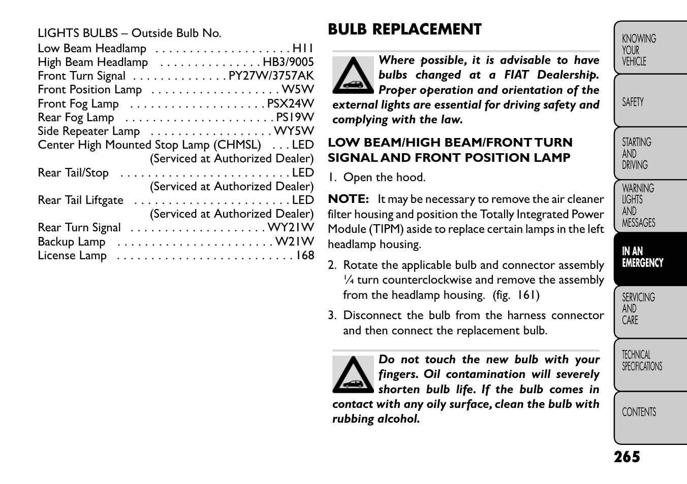 bulb replacement fiat freemont user manual page 271 352