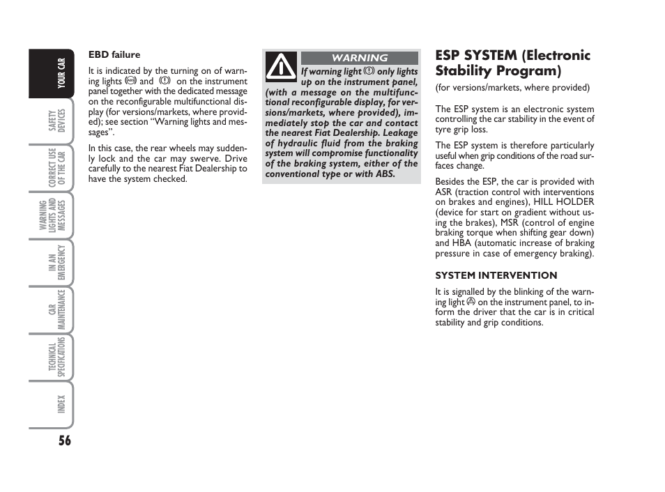 Esp system (electronic stability program)   FIAT 500 User