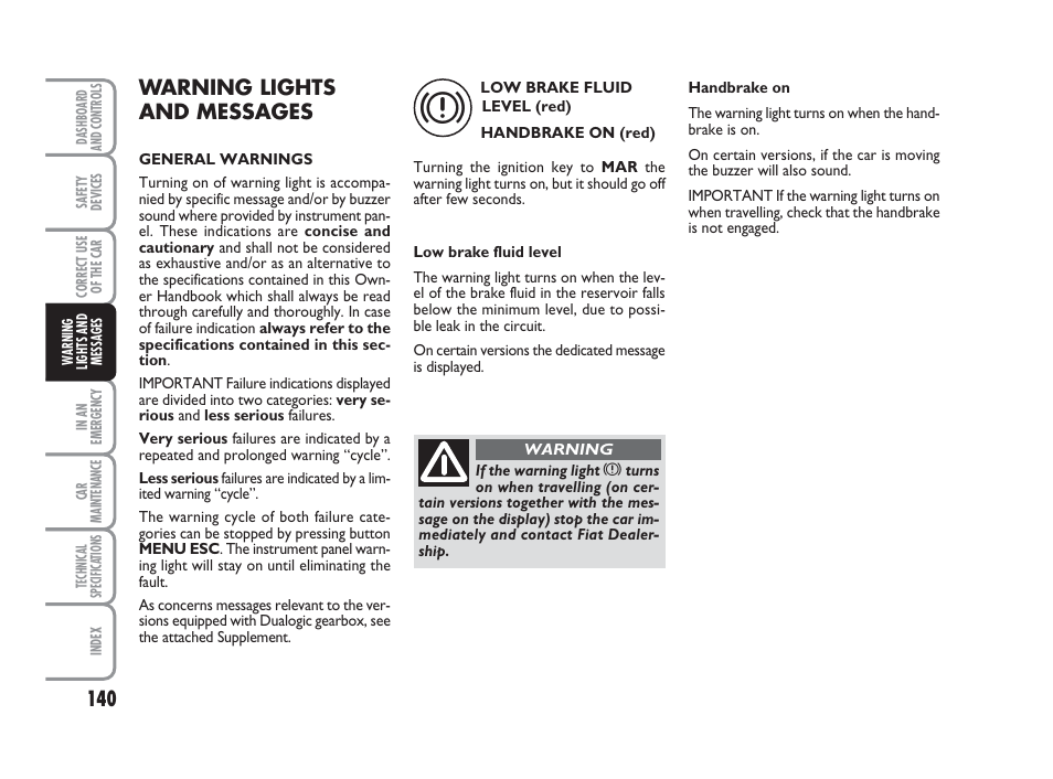 Warning lights and messages | FIAT Grande Punto Actual User