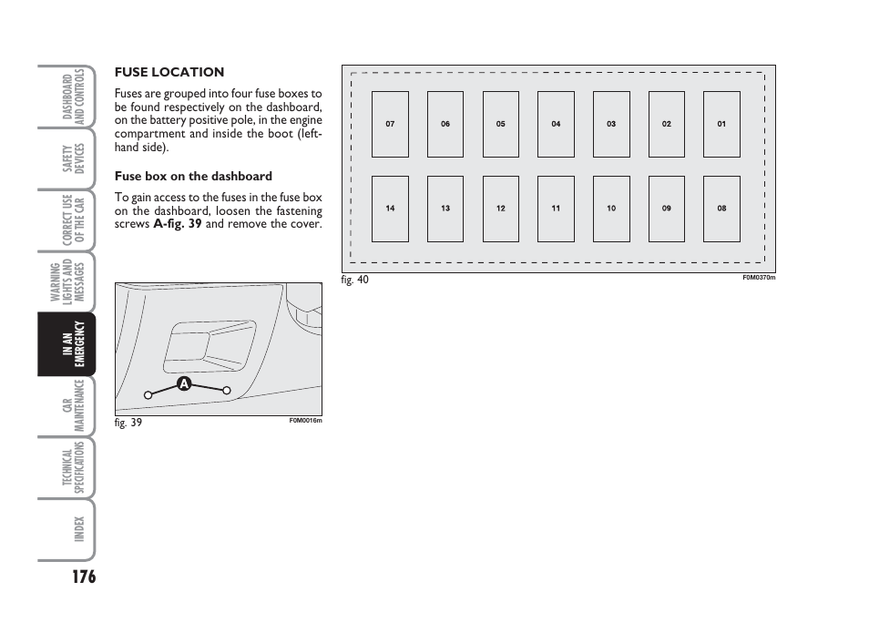 fiat punto fuse box location fiat grande punto actual user manual page 178 243  fiat grande punto actual user manual