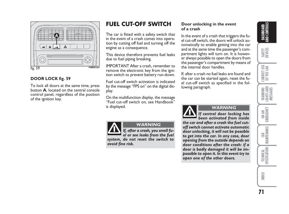 Fuel cut-off switch | FIAT Grande Punto Actual User Manual