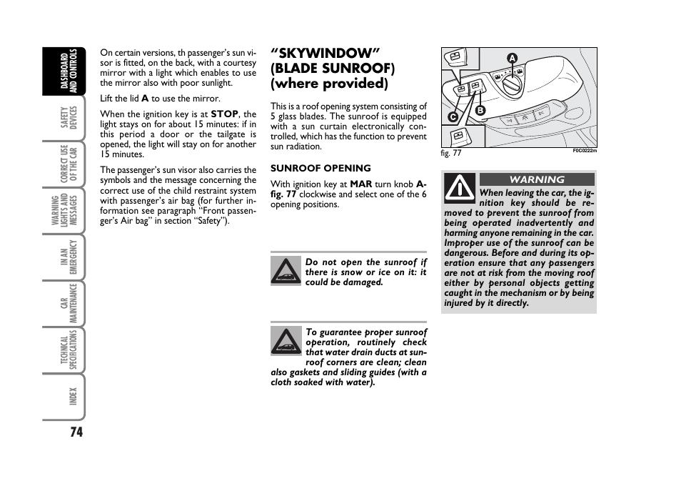 skywindow u201d blade sunroof where provided fiat stilo user manual rh manualsdir com Forum Fiat Stilo Fiat Stilo Interor