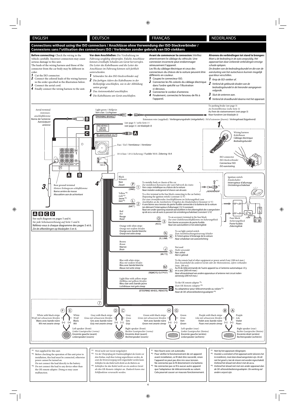 Jvc Kw Av71bt Wiring Diagram Electrical Diagrams Connections Without Using The Iso Connectors English Franais Q See