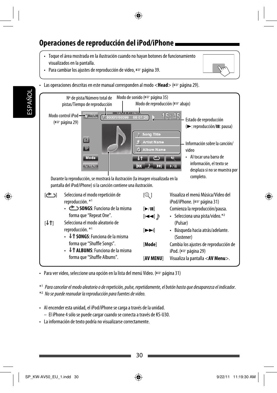 Operaciones de reproducción del ipod/iphone, Español 30 | JVC KW ...