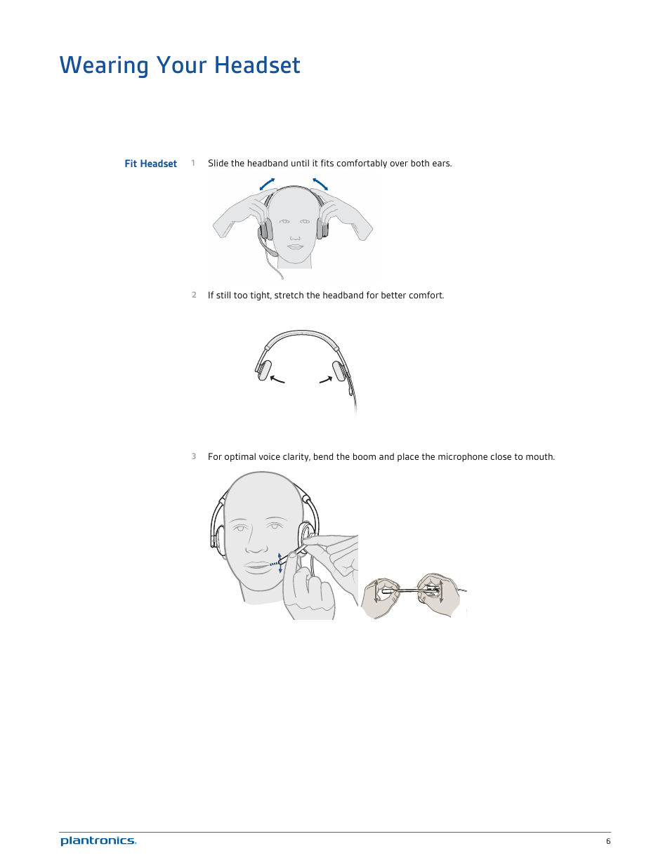 Wearing your headset, Fit headset | Plantronics Blackwire C520 User
