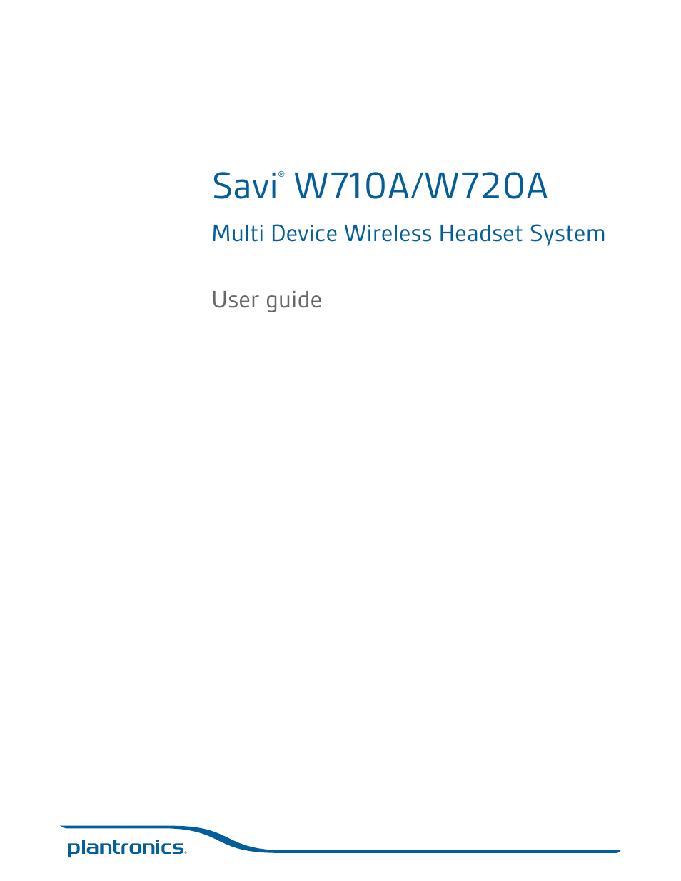Plantronics Savi W720 User Manual 36 Pages