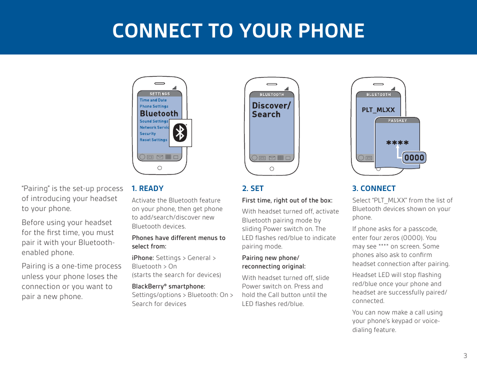 Connect to your phone | Plantronics ML12 User Manual | Page