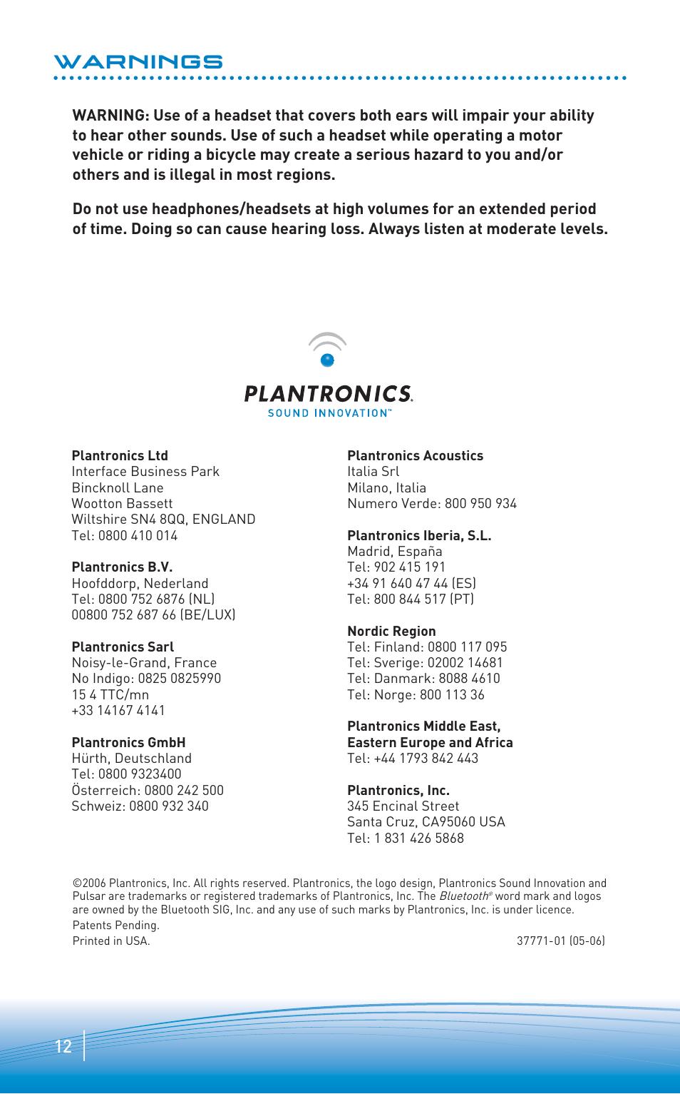 plantronics pulsar 260 stereo bluetooth headset user manual page 7 7 rh manualsdir com plantronics discovery 640 manual Plantronics BackBeat Fit Manual