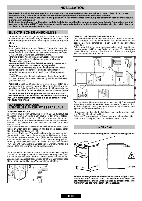 Installation, Elektrischer anschluss | Candy DUO 609 X User Manual ...