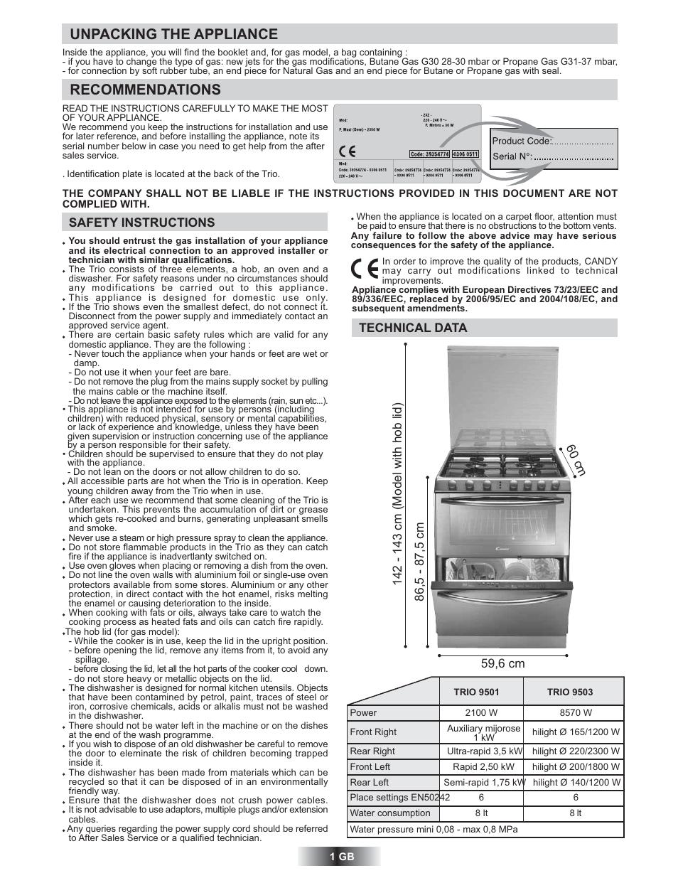 unpacking the appliance recommendations candy trio 9503 x user rh manualsdir com Bosch Appliances Roper Appliances