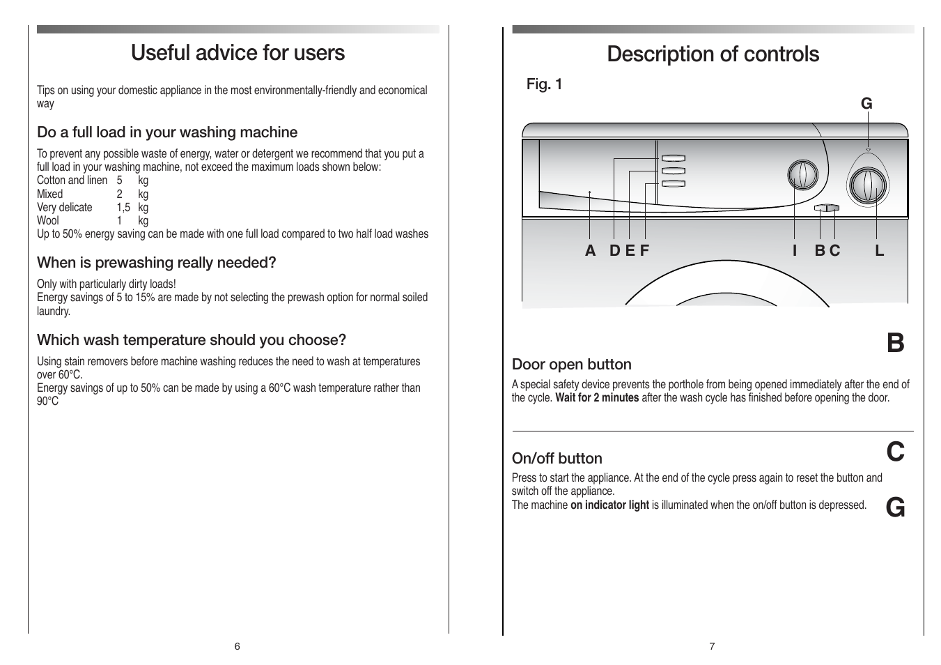 Cg B Description Of Controls Useful Advice For Users Candy Cb 52 2 Way Switch Singapore T User Manual Page 4 17