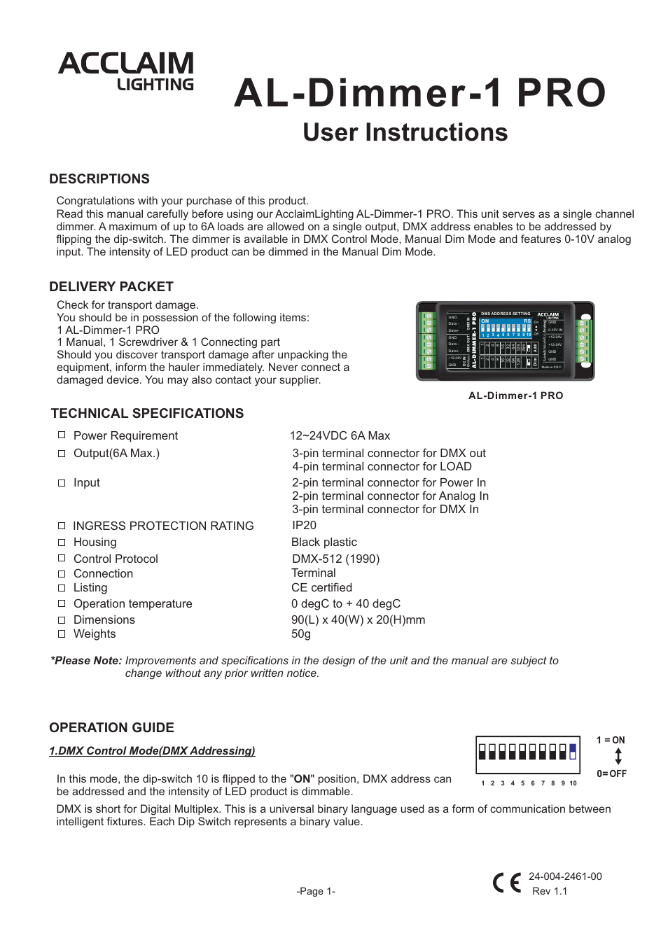 Acclaim Lighting AL Dimmer 1 Pro User Manual | 3 pages