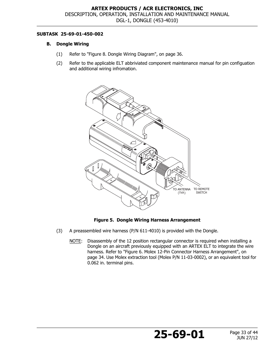 B Dongle Wiring Figure 5 Harness Arrangement Wire Pin Tool Acrartex Dgl 1 User Manual Page 33 44