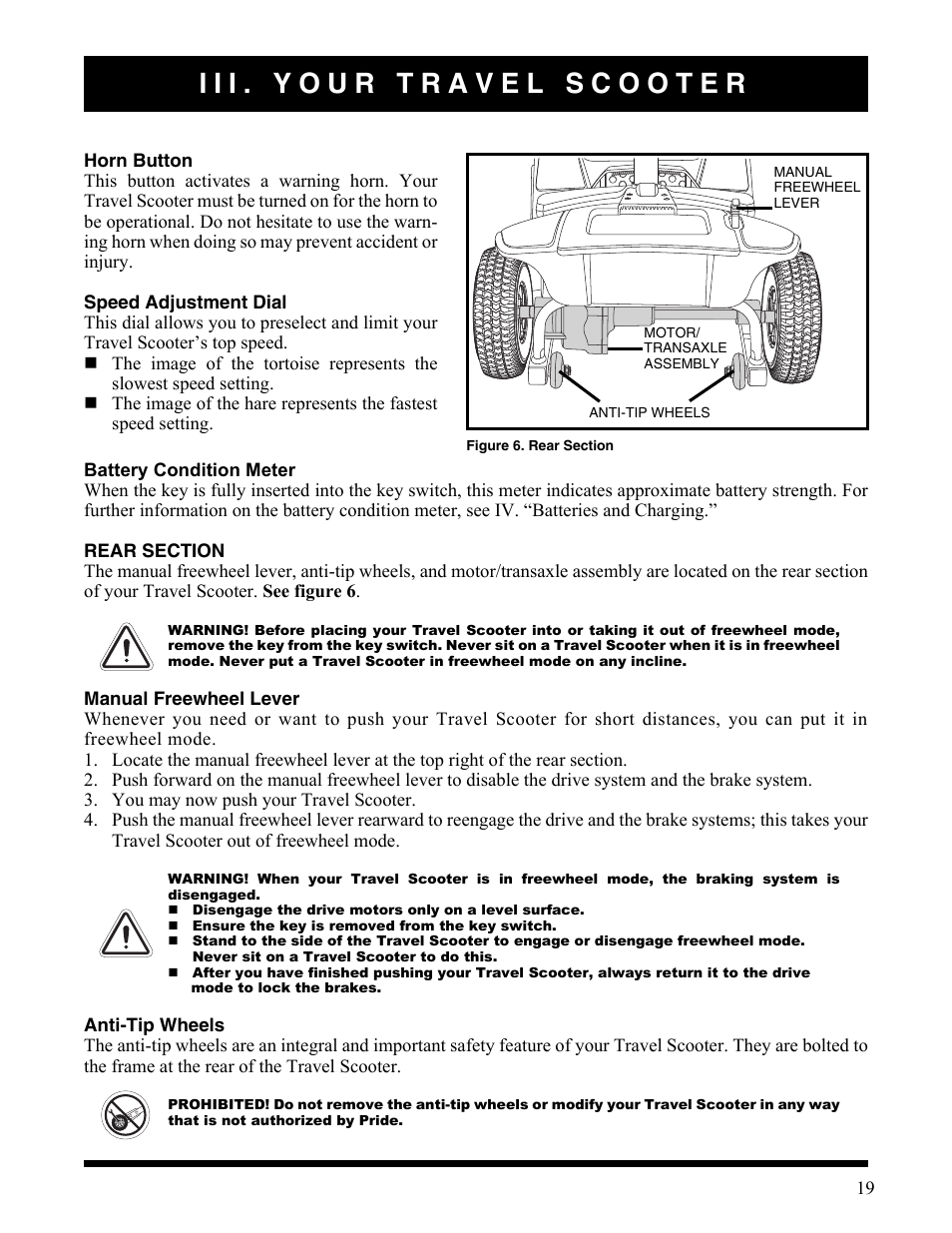 Iii. your travel scooter, Manual freewheel lever, Anti-tip wheels |  Activeforever Pride Go Go Elite Traveller Plus Electric Scooter User Manual  | Page 19 / ...