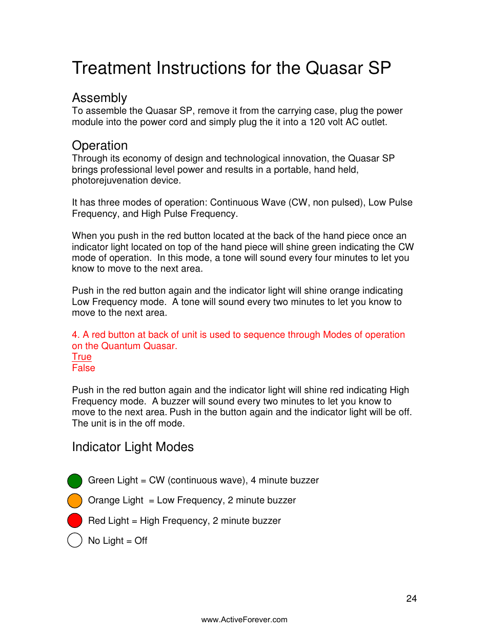 treatment instructions for the quasar sp assembly operation rh manualsdir com Instruction Manual Book Instruction Manual Example