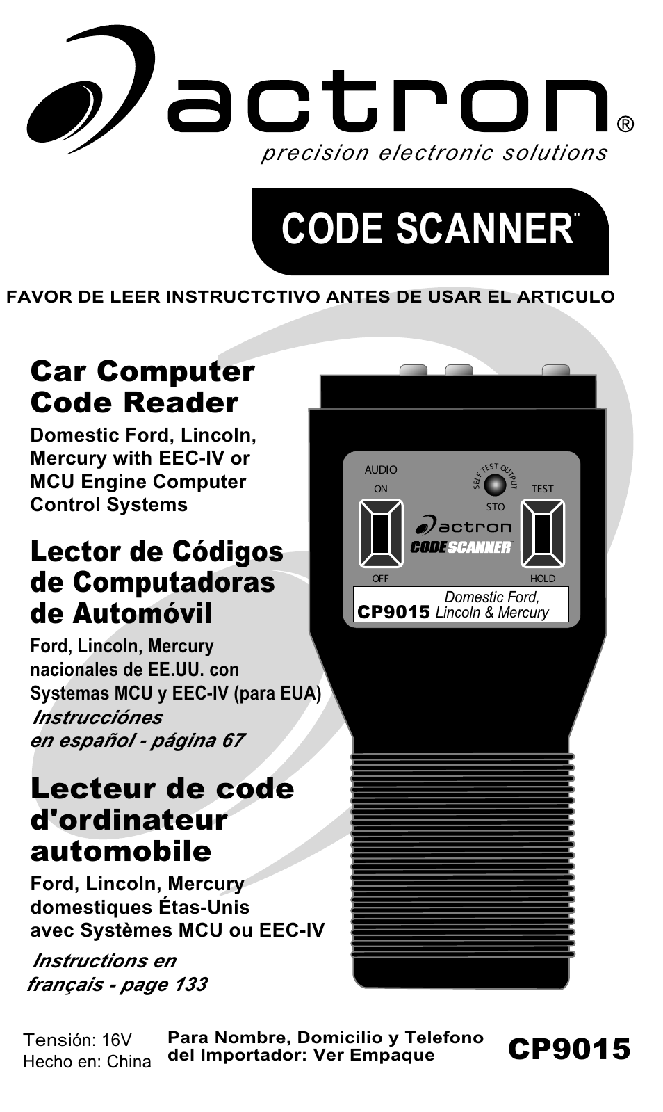 actron ford code scanner cp9015 user manual 66 pages original mode rh manualsdir com Actron Vehicle Codes Actron CP9125 Code List Booklet