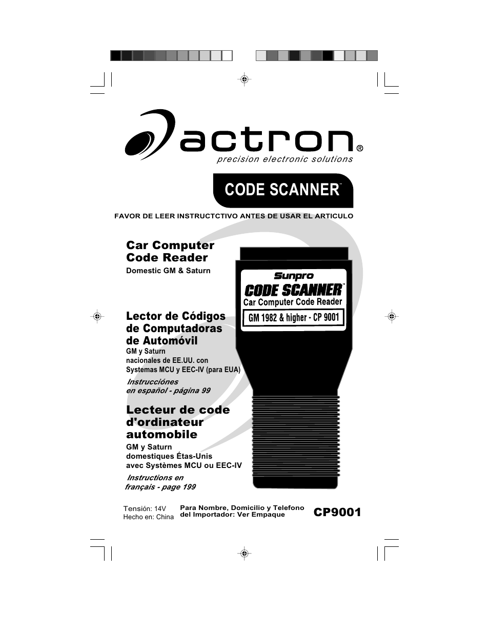 Actron GM Code Scanner CP9001 User Manual | 98 pages