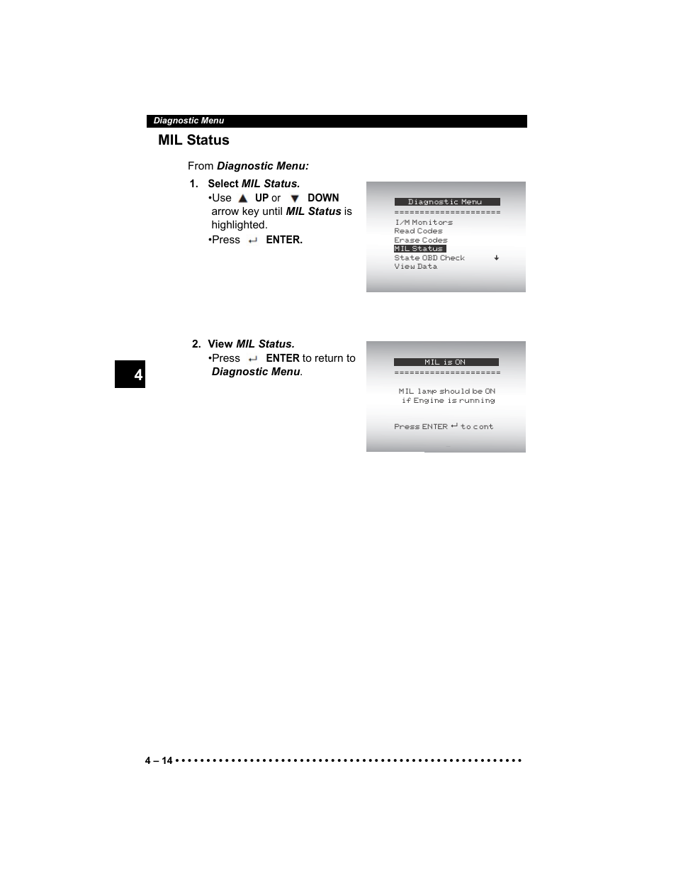 Mil status | Actron AutoScanner® Plus CP9580A User Manual ...