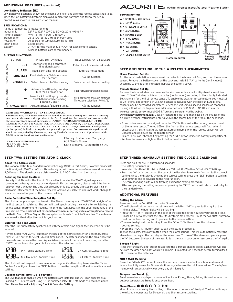 Acurite 00786 Thermometer User Manual Manual Guide